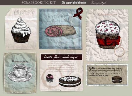Illustration pour Coffret café et gâteau. Ancienne illustration vectorielle d'étiquette en papier. Style vintage - image libre de droit