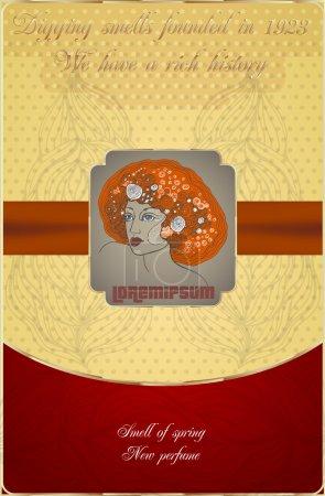 Illustration pour Carte postale avec icône femme - image libre de droit