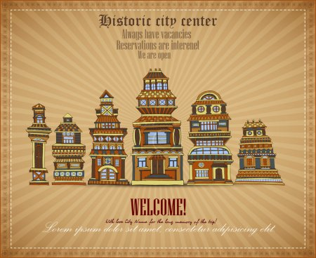 Illustration for Vector invitational document historic city center - Royalty Free Image
