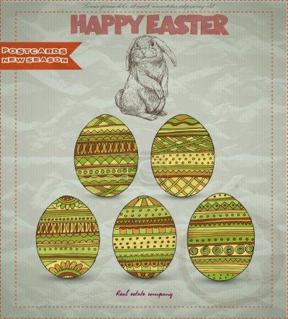 Illustration pour Carte de Pâques rétro avec lapin et œufs - image libre de droit