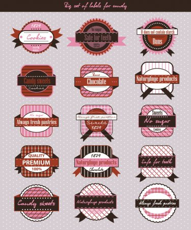 Illustration for Vintage candy shop labels and stickers - Royalty Free Image