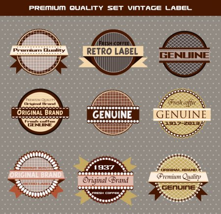 Illustration for Premium quality set of vector vintage labels on gray background - Royalty Free Image