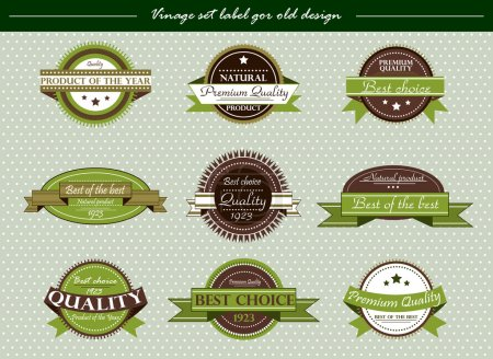 Illustration for Vector vintage set label for old design on green - Royalty Free Image