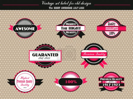 Illustration pour Ensemble vintage d'étiquettes vectorielles de conception ancienne - image libre de droit