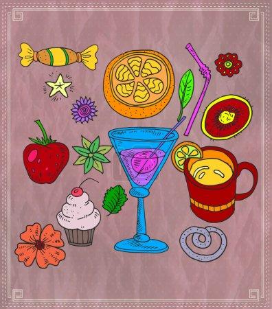 Illustration pour Cocktail et fruits variés. Illustration vectorielle - image libre de droit