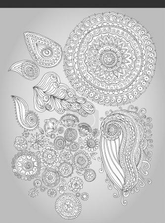 Photo pour Fleurs fantastiques de style folklorique. Illustration vectorielle - image libre de droit