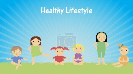 Estilo de vida saludable. Niños haciendo gimnasia