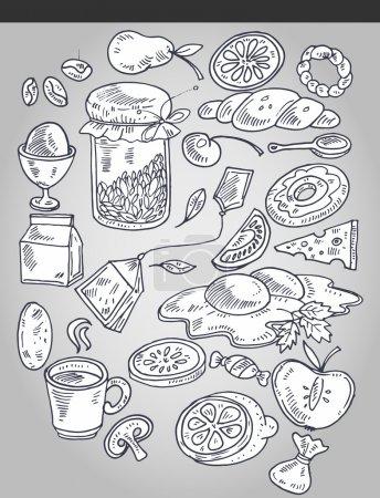 Varios alimentos en estilo vintage