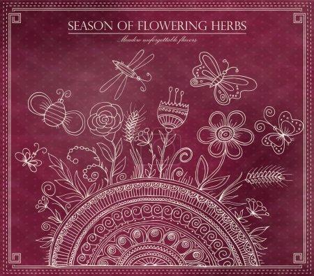 Diseño de ilustración floral vintage