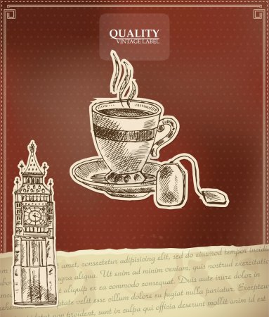 Vintage quality label for tea with Big Ben tower