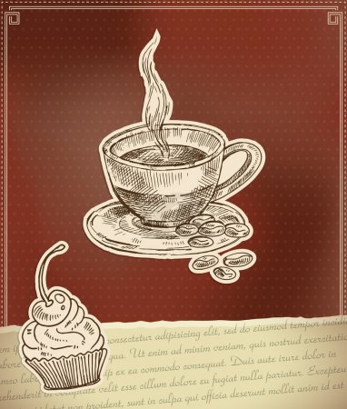 Label for coffee time with cup and cake