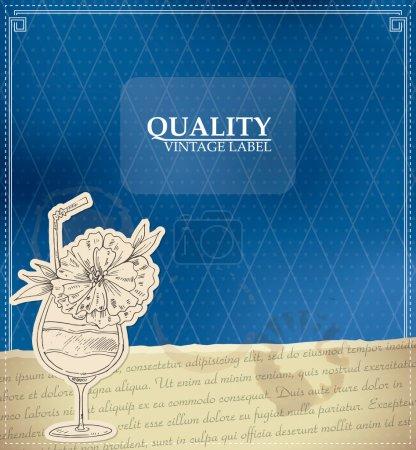 Etiqueta de calidad vintage con cóctel