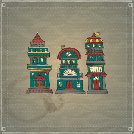 Cartoon Burg Türme Vektor Illustration