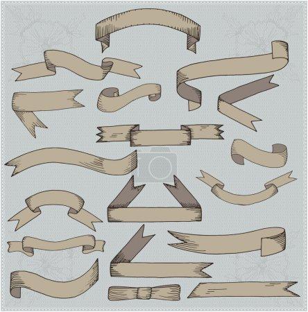Illustration pour Ensemble de bannières vintage ruban - image libre de droit