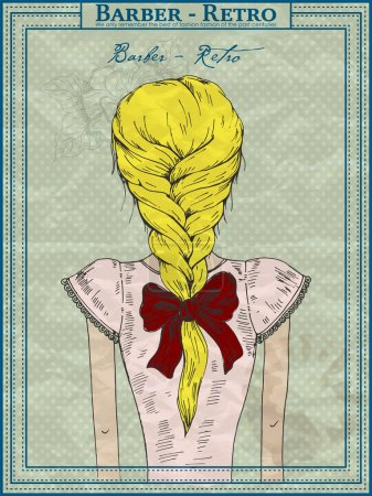 Vector drawing of a beautiful girl, hairstyle