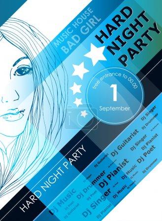 Illustration pour Nuit fête affiche de conception avec fille de la mode - image libre de droit