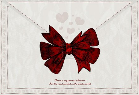 Photo for Vector letter background with red bow - Royalty Free Image
