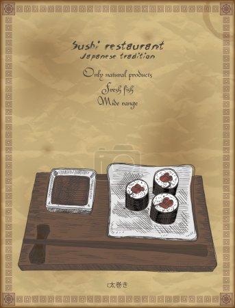 Illustration pour Affiche vintage pour restaurant japonais. Fond vectoriel rétro avec rouleaux de sushi . - image libre de droit
