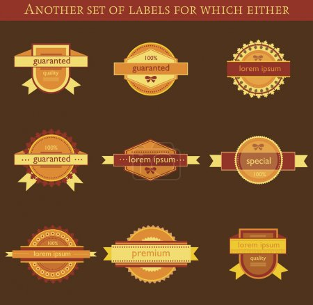 Illustration for Retro vector labels and badges on brown background - Royalty Free Image
