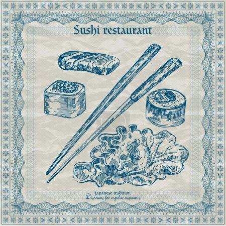 Illustration pour Bannière de restaurant de sushi vintage. Illustration vectorielle - image libre de droit