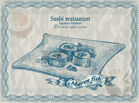 Illustration pour Bannière de restaurant de sushi vintage. Illustration vectorielle . - image libre de droit