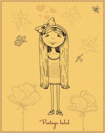 Illustration pour Illustration vectorielle fille dessin animé mignon - image libre de droit