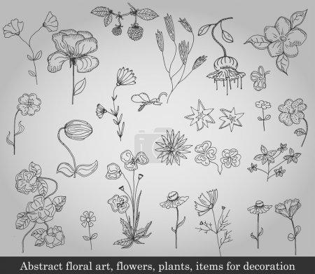 Illustration pour Art floral abstrait, fleurs, plantes, objets de décoration sur fond gris - image libre de droit