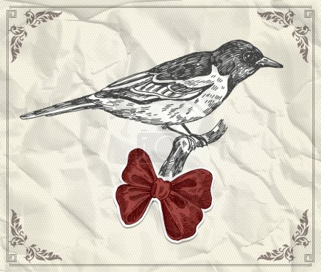 Illustration for Vintage card with bird and red bow - Royalty Free Image