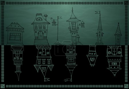 Vintage houses vector on dark background