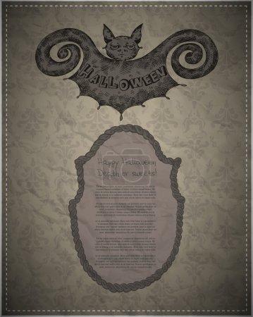 Illustration pour Carte vectorielle Halloween avec chauve-souris et copyspace - image libre de droit