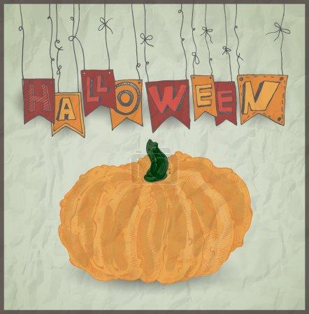Illustration pour Citrouille d'Halloween sur fond gris. Illustration vectorielle - image libre de droit