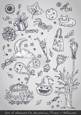 Various decorative elements for Halloween. Vector illustration