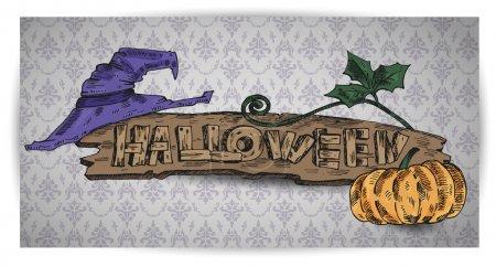 Illustration pour Citrouille, chapeau et bannière Halloween. Illustration vectorielle - image libre de droit