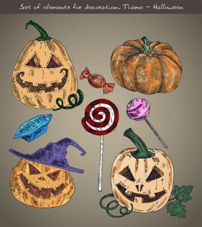 Illustration pour Ensemble d'éléments pour la décoration. Thème - Halloween - image libre de droit