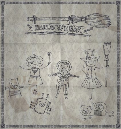Illustration for Illustration of funny kids in Halloween costumes. vector - Royalty Free Image