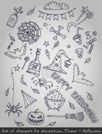 Illustration pour Différents éléments décoratifs pour Halloween. Illustration vectorielle - image libre de droit