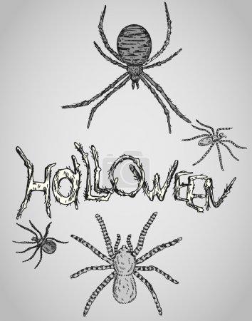 Illustration pour Bonne carte vectorielle Halloween avec des araignées - image libre de droit