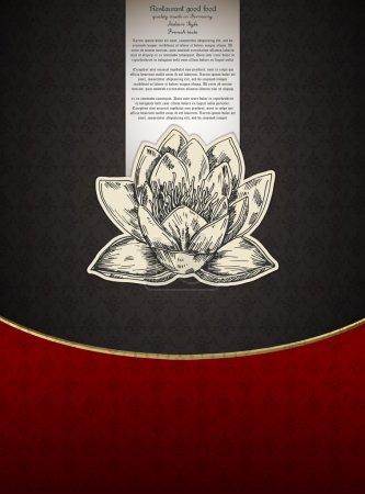 Banner for restaueant menu with lotus flower. Vector illustration