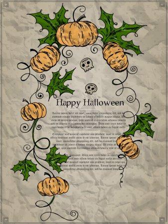 Illustration pour Carte d'Halloween avec citrouilles et crânes. Illustration vectorielle - image libre de droit