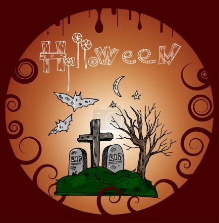 Illustration pour Bannière Halloween avec cimetière. Illustration vectorielle - image libre de droit