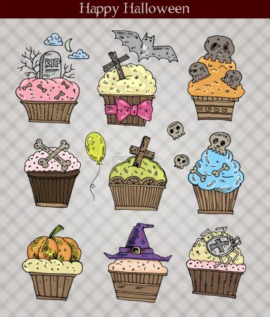 Cute Halloween muffins set. Vector illustration