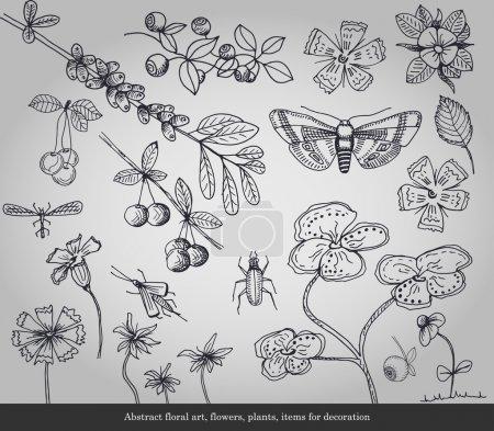 Illustration pour Art floral abstrait, fleurs, plantes, insectes éléments de décoration sur fond gris - image libre de droit