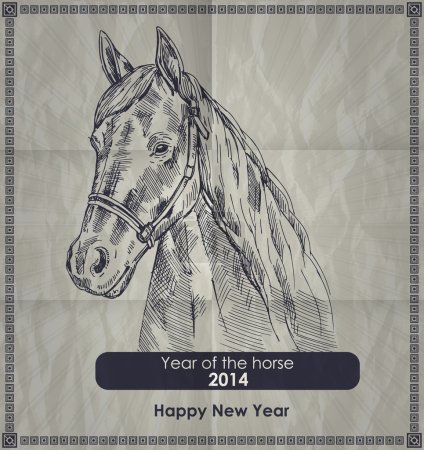 Year of the horse. Vintage vector retro style poster