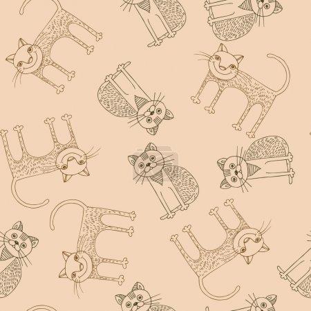 Illustration pour Drôle de dessin animé chat modèle. Illustration vectorielle - image libre de droit