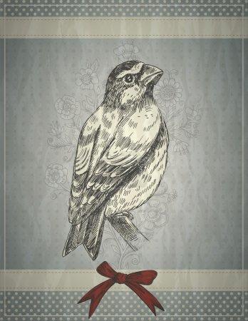 Illustration pour Carte de voeux style rétro avec oiseau et arc rouge - image libre de droit