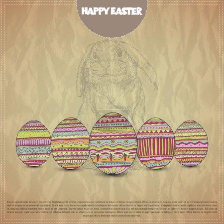 Illustration pour Joyeux design de carte postale Pâques - image libre de droit