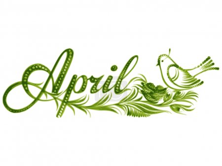 Illustration for April, name of the month, hand drawn, vector, illustration in Ukrainian folk style - Royalty Free Image