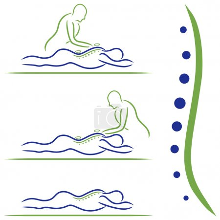 Illustration for Vector illustration of massage treatment. - Royalty Free Image