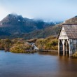 Dove Lake boatshed on an early winter morning in C...