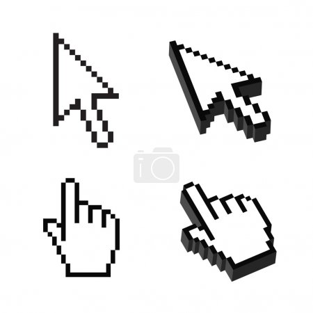 Illustration for Two or Three dimensional Shape Cursor set - Royalty Free Image
